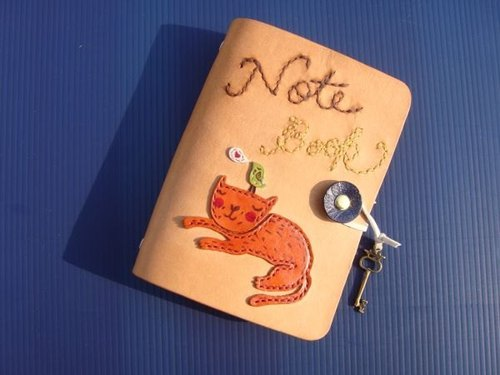 [Two brothers - Cat and Bird dialogue] handmade leather loose-leaf notebook / Manual