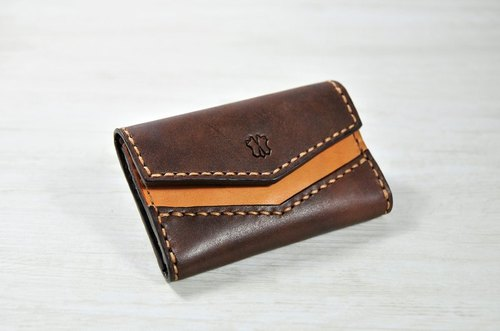 MICO hand-sewn leather card case (coke tea)