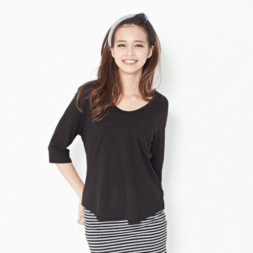 Renee Raglan sleeve shirt / black