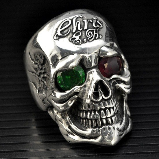 Customized skull ring .925 sterling silver jewelry RSK00004B-