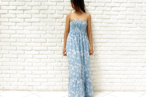 Margaret print Strapless Ruffle Dress <Blue>