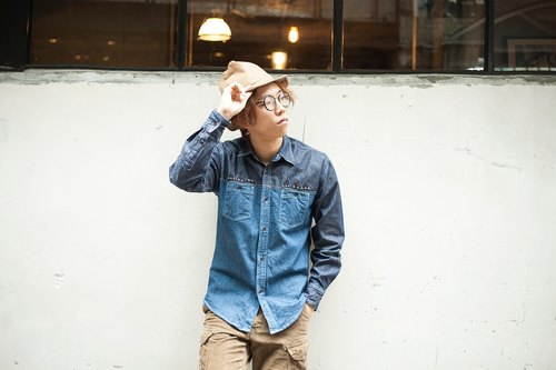 Omake Mon embroidery stitching denim shirt pocket