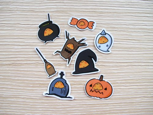 - Orange hiding - Camouflage Halloween sticker set