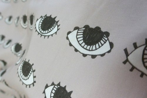 Original Cotton Fabric - Eyes, Gray