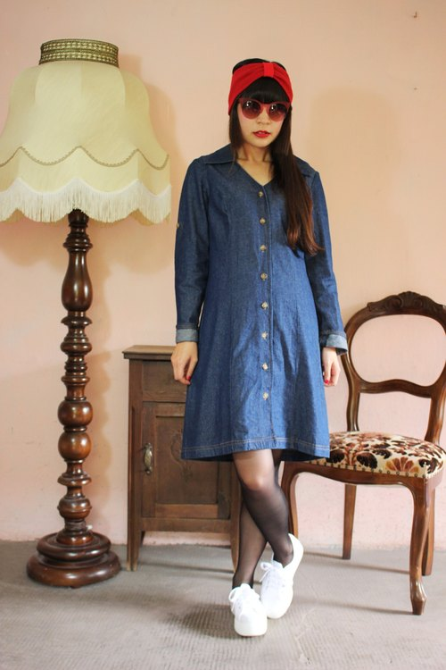 F1125 (Vintage) breasted blue vintage denim long-sleeved dress