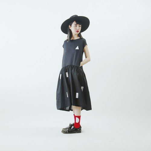 Corner corners of the triangle cotton dress Dress - imakokoni