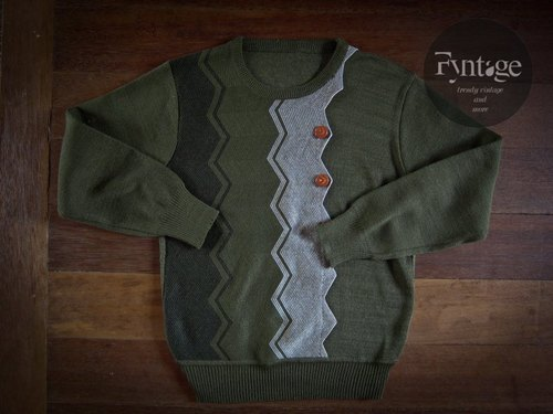 Fyntage vintage vintage geometric lightning olive green sweater jacket [sold]