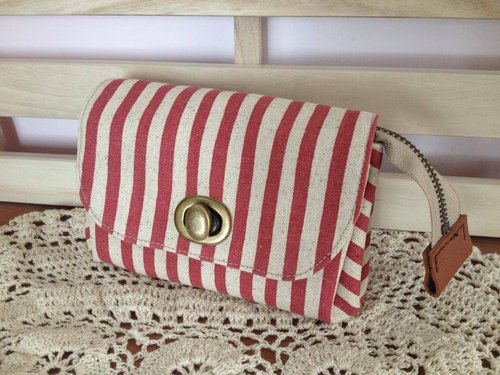 Clare cloth hand made * pink stripe Clutch