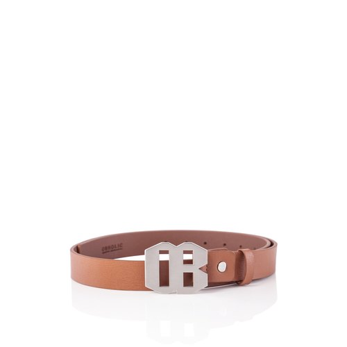 OBHOLIC Cognac color Italian cross pattern cowhide Saffiano belt belt (white steel color)