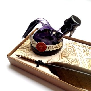 Q7499  Classic Writing Set-Quill Pen+Ink+Quill Stand / Francesco Rubinato
