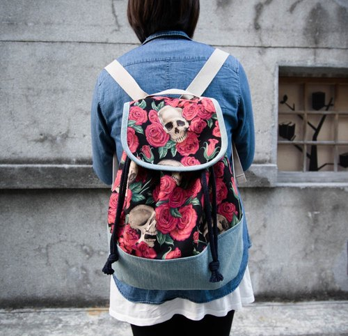 Pu. Leimi Japanese hand-made American made special printing Limited - Skull Rose / beam port Backpack - / tote / Backpack (limited number only two while supplies last)