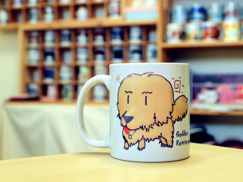 """NONCOOL‧ Cool farming"" golden retriever. Mug / straight cup (300ml)"