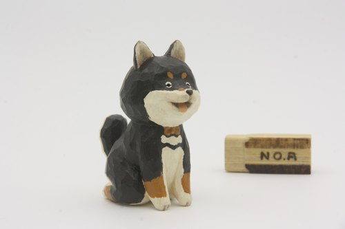Department healing elegant wood carvings of small animals _ _ black shiba (hand-carved wood)