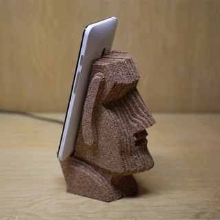 Moai Moai boulder like mobile phone holder creative cork stack hand crafts healing small things