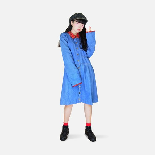 A‧PRANK: DOLLY :: VINTAGE retro stitching a red checkered collar / cuff denim dress