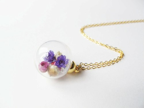 *Rosy Garden*Purple dried Daisies inside glass ball necklace