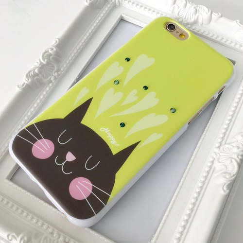 Luxury Green Happy Cat Print Soft / Hard Case for iPhone X,  iPhone 8,  iPhone 8 Plus,  iPhone 7 case, iPhone 7 Plus case, iPhone 6/6S, iPhone 6/6S Plus, Samsung Galaxy Note 7 case, Note 5 case, S7 Edge case, S7 case