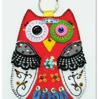 Owl Card Case - red and white