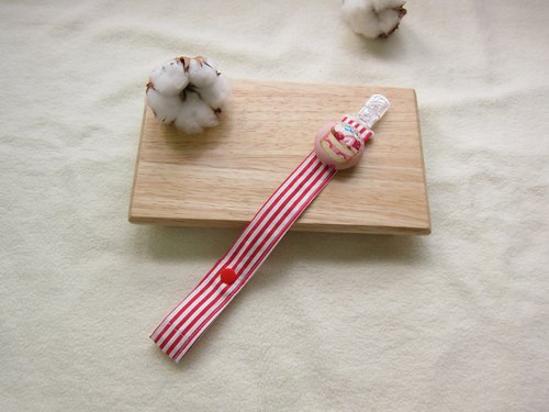 Red lines milk sugar + honey cake pacifier chain, toy chain
