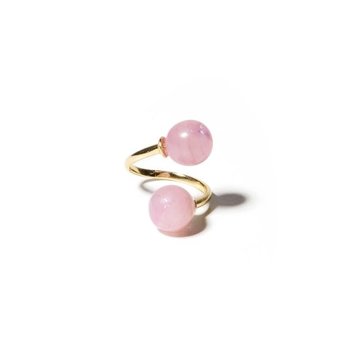 LUZID • THE DOT series pink marbled Twins Rings (Large)