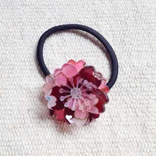 Sakura soft, double cherry, hair bundle, hair ring - red