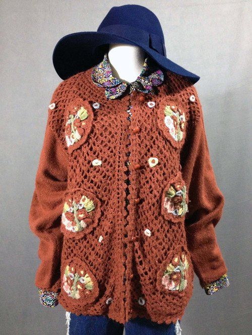 Ping-pong vintage [old sweaters / lace embroidery hook flowers vintage sweater coat] abroad back feel VINTAGE