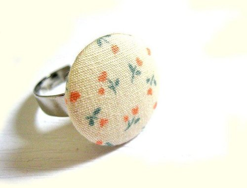 Hand-made cloth buttons Floral Ring