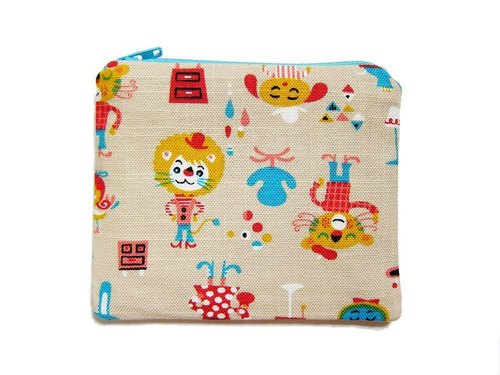 Zipper bag / purse / mobile phone sets circus animals