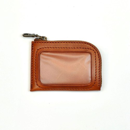 [DOZI leather hand-made] L-type travel card wallets, coin purse, multi-color selection. For the dyeing of leather production, free to color, like light brown Photo