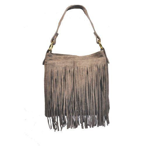 [] Italian Giulia Italian made leather fringed square bag (gray)