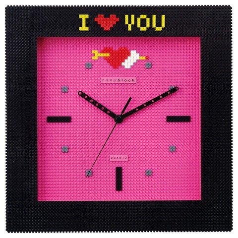 (Maijiu alarm clock) nanoblock miniature bricks wall clock black