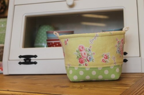 Oleta living grocery ╭ * [washed cotton yellow green dot cotton rose shop box]