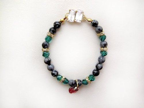In pairs CZ Bracelet (Green)