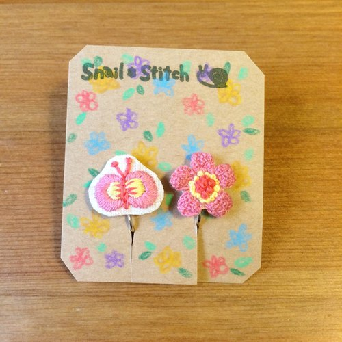 Clip-on earrings embroidery と butterfly flower pink * *