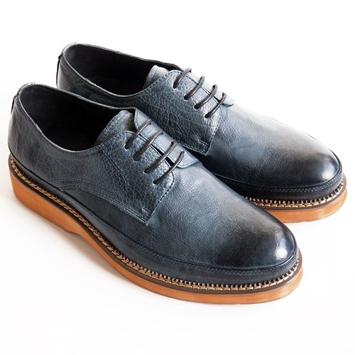 [LMdH] D1A25-39 hand-painted calf leather Derby lightweight heavy-bottomed shoes - dark blue - free shipping