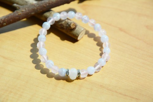 Whisper: natural blue agate elastic bracelet pink crystal Moonstone