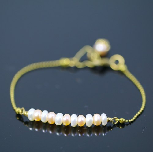 [ColorDay] Ocean Love Series - Natural white and pink pearl bracelet copper