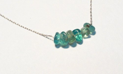 Tong Ling set record 925 sterling silver ornaments ~} {pure original handmade necklace of natural apatite