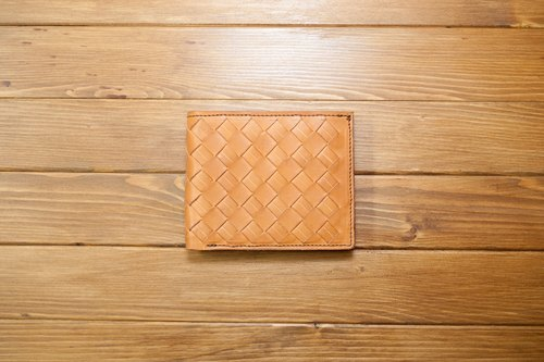 Dreamstation leather Pao Institute, vegetable tanned leather woven short clip, handmade, short clip, wallets., Business card holder! Clearing price
