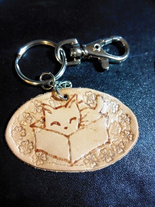 David painted cat _ Hand-made Pidiao key ring _ 01 cat