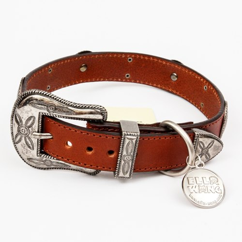 Ella Wang Design metal carved medallion Leather Collar - brown (coffee) pet collar