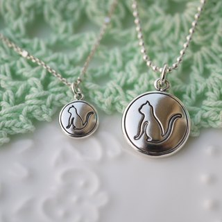 "Handmade 925 sterling silver [mystery summer cat silhouette Logo ""small tag"" clavicle necklace] is love mystery summer <3"