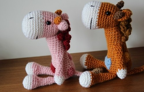 Amigurumi crochet doll: Giraffe, Pink, Brown
