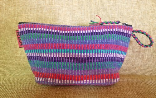 [Music tempo] <Taiwan exclusive hand-woven> Nepal rainbow hand workshop Cosmetic / Pencil / Universal Bag (purple color profile)