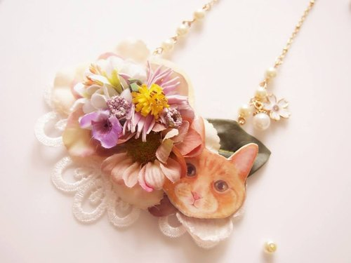Tammy St. Meow Meow series Secret Garden Tea brown cute kitten cat Lace Necklace
