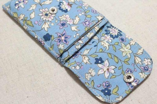 Card business card pouch - floral (blue)