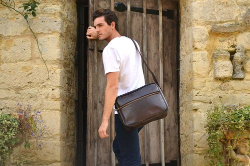 ORLANDO men shoulder bag brown leather side