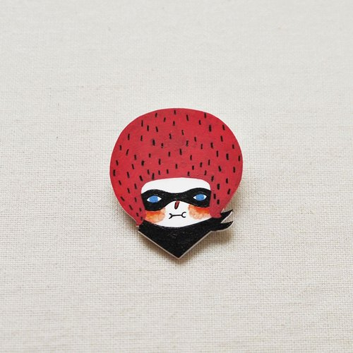 Eliza The Masked Girl - Handmade Shrink Plastic Brooch or Magnet - Wearable Art - Made to Order