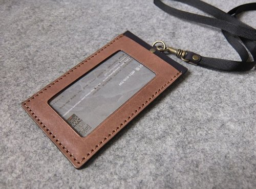 Handmade leather design leather U-Style Straight documents folder (including neck strap webbing) wood color + blue and gray leather