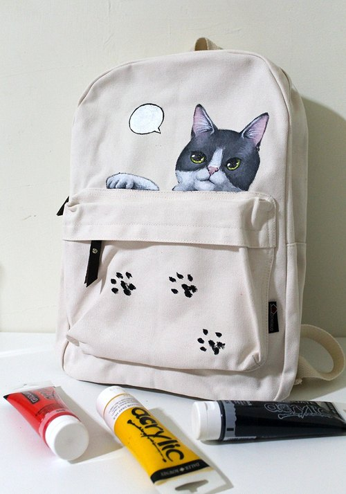 Unique Acrylic の hand will Backpack - White gray cat